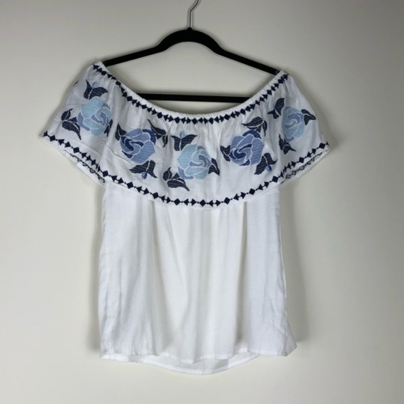 1a0318dbb4df9 Blue Rain Tops - Anissa Off Shoulder Embroidered Ruffle Top White